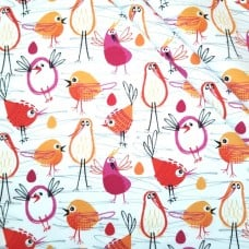 Flannelette Colourful Robin in the Hood Cotton Fabric