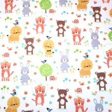 Flannelette Nature Babies on White Cotton Fabric