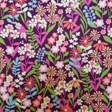 Fresh Flowers Blackberry Cotton Fabric by Michael Miller