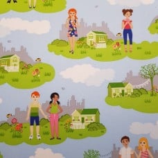 Paper Doll Park Summer Cotton Fabric by Michael Miller