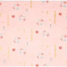 Bramble Farm Metallic Gold Speck in Pink Cotton Fabric by Michael Miller