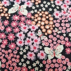 Flutter Fleur Cotton Fabric by Michael Miller in Charcoal