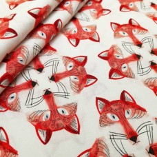 Out Foxed Cotton Fabric by Michael Miller in White