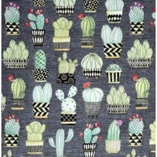 Cactus Cotton Fabric in Grey by Michael Miller