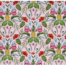 A Tropical Oasis Flamingo Cotton Fabric by Michael Miller