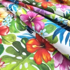 Tropical Bliss in White Cotton Fabric by Michael Miller Fabrics