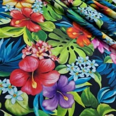 Tropical Bliss in Black Cotton Fabric by Michael Miller Fabrics