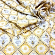 Queen Bee Hive in Yellow Cotton Fabric by Michael Miller Fabric Traders