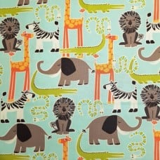 Safari Friends Cotton Fabric by Michael Miller in Aqua