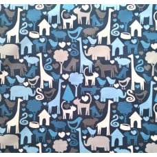 Animal World Cotton Fabric by Michael Miller in Blue