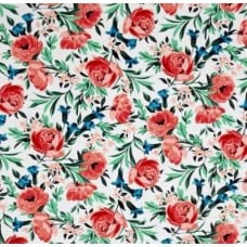 Bed Of Roses Coral Cotton Fabric by Michael Miller