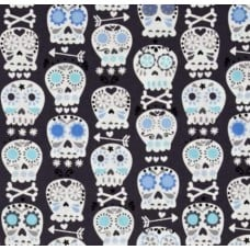 Bonehead Skulls in Blue Cotton Fabric by Michael Miller