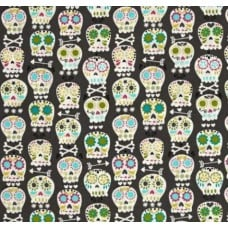 Bonehead Skulls in Grey Cotton Fabric by Michael Miller