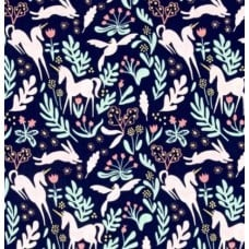 Magic Folk Navy Cotton Fabric by Michael Miller Fabric Traders