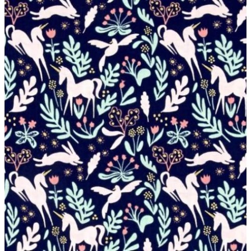 052536e11cfa1 Magic Folk Navy Cotton Fabric by Michael Miller Fabric Traders