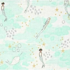 Magic Mermaids in Mist Cotton Fabric by Michael Miller Fabric Traders