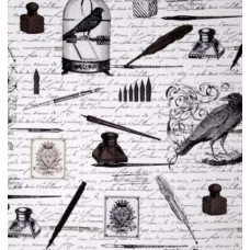 Nevermore Old Script Urban Grit Cotton Fabric by Michael Miller