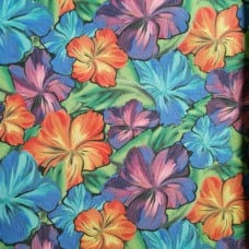 Tropical Hibiscus Multi Printed Waterproof Indoor Outdoor Canvas Fabric