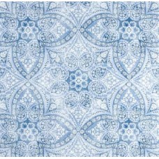 A Fresh Medallion Outdoor Fabric in Blue Fabric Traders