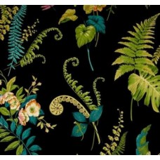 Greenhouse Ferns Cotton Home Decor Fabric in Black