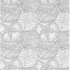 Sea Shells and Sand Dollars in Grey Luxe Indoor Outdoor Fabric
