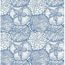 Sea Shells and Sand Dollars in Blue Luxe Indoor Outdoor Fabric - OFFCUT Fabric Traders