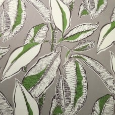 Lush Large Foliage on Taupe Grey Indoor Outdoor Fabric