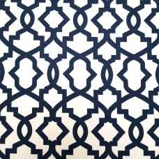 Geometric Design Navy on White Home Decor Cotton Fabric