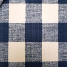 Check Luxury Indoor Outdoor Fabric in Blue and White