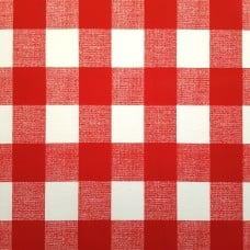 Check Indoor Outdoor Fabric in Red and White