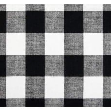 Check Medium Home Decor Cotton Fabric in Black and White