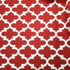 Lattice In White and Deep Red Home Decor Cotton Fabric