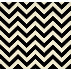 Chevron Stripe Outdoor Fabric in Black and Ivory Fabric Traders