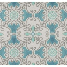 Tile Luxe Linen Blend Home Decor Fabric in Aqua Blue Fabric Traders