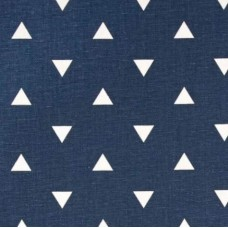 Triangle White on Dark Blue Home Decor Fabric