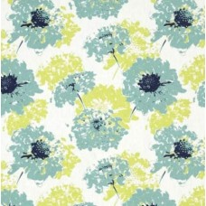 Vintage Floral Home Decor Fabrics in Blue and Lime