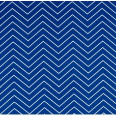 Chevron Zig Zag Fine Line Outdoor Fabric in Cobalt and White
