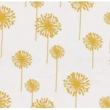 Dandelion Yellow on White Cotton Home Decor Fabric
