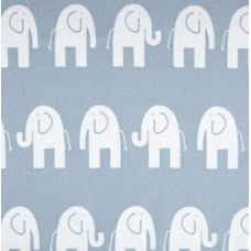 Ele Elephant White on Blue Home Decor Cotton Fabric Fabric Traders