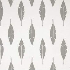 Feather Silhouette Cotton Home Decor Fabric in Grey on White