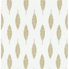 Feather Silhouette in Gold Cotton Home Decor Fabric