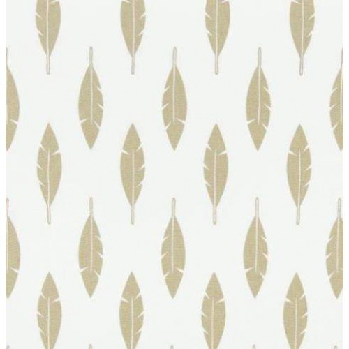 Feather Silhouette in Gold Cotton Home Decor Fabric Fabric Traders