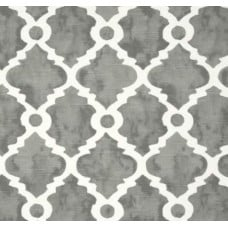 Lattice Silhouette Cotton Home Decor Fabric in Grey