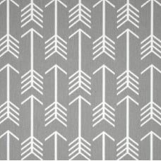 Arrows in White on Grey Home Decor Cotton Fabric