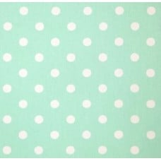 Polka Dot Home Decor Upholstery Fabric White on Mint
