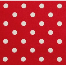 Polka Dot Home Decor Upholstery Fabric White on Red