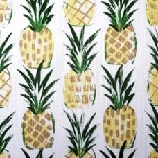 Pineapple Tropics Cotton Home Decor Cotton Fabric on White