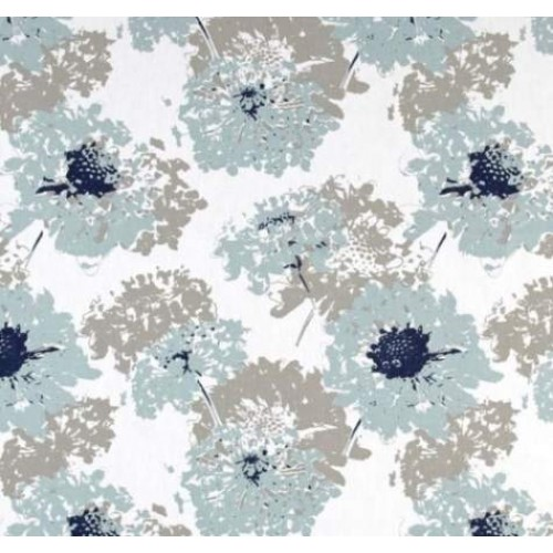 Vintage Floral Home Decor Fabric In Blue And Grey Fabric