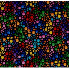 Dots Multi Allover Designer Cotton Fabric in Black