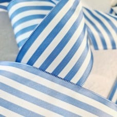 Laitonne French Blue and White Striped Acetate Wired Ribbon 68mm Width Fabric Traders